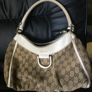 SOLD!! GUCCI GG ABBEY PURSE bag AUTHENTIC BEIGE